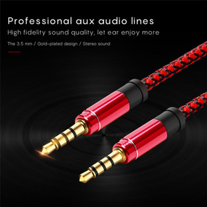 Unbroken metallo nylon intrecciato Audio Cable 1.5M 5FT 3.5mm rotondo maschio stereo ausiliario AUX di estensione per il telefono mobile MP3 Speaker Tablet PC