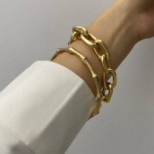 2 Pcs Set Gold Color Metal Chain Link Creative Bamboo Bracelet Bangle 2020 New Fashion Punk Bangle Bracelet Women Party