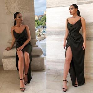 2020 черные сексуальные длинные платья выпускного вечера спинки высокая сторона сплит Ruched вечерние платья вечерние платья vestidos de fiesta BM0802