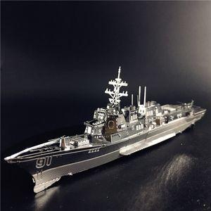 MMZ MODEL nanyuan 3D Metal Puzzle Burke Class Destroyer Type 056 Corvette Warship Model DIY 3D Laser Cut Jigsaw Toy Y200704