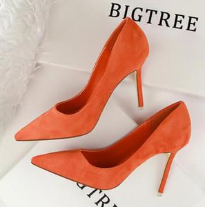 Sıcak Sale-2019 yeni moda tasarımcısı bayan ayakkabıları süet sığ ağız yüksek topuklu 8 cm cm seksi oldu ince siyah kırmızı turuncu 9 renk elbise ayakkabı