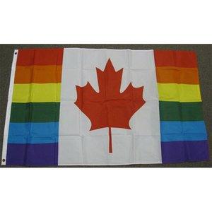 Canadá Rianbow Bandeira 150x90cm 3x5ft impressão 60D poliéster Clube Sports Outdoor Indoor Com 2 guarnições de latão, frete grátis