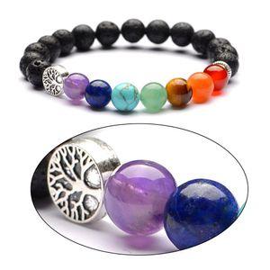 6mm 8mm Lava Stone Tree of Life 7 Chakra Healing Balance de Perlas Reiki Buddha Oración Aceite Esencial Difusor Pulsera Joyería