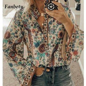 Fanbety Plus Size Automne femmes Chic Blouses Peacock imprimé floral Chemisier femmes col V Casual Boho Chemisier Tops Femme