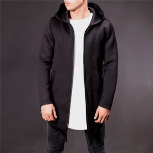 Mens Designer Autumn and Winter Solid Color Trench Coats Fashion Hooded Collar Outerwears Fleece Gentlemen Coats with Pockets