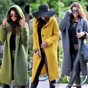 Kapüşonlu Tasarımcı Tek Göğüslü İlkbahar Sonbahar Moda Mont Kadın Zarif Giyim Kadın Uzun Kazak Hırka Ceket Palto