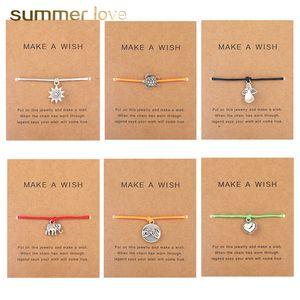 İstek Card ile Ağacı Dostluk AŞK Kaplumbağa kolye bilezik Kadınlar Erkekler Fil Yaşam İçin El yapımı 5 Renk Wax Halat örgülü Charm Bilezik