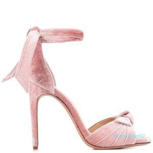 Wed2019 Пудра Код Будет Синий Бархатный Галстук Высокий С Сандалиями Женщина Последняя Мода Банкетная Обувь Чэнду