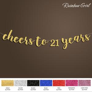 Vive à 21 ans Bannière, Joyeux anniversaire signe Backdrop, 21ème anniversaire Décoration, Or / Argent Fournitures Glitter Décorations festives