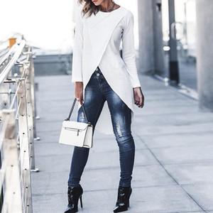 캐주얼 여성 긴 소매 톱 패션 여성 셔츠 여성 단색 O-목 블라우스 여자 느슨한 플러스 사이즈 불규칙 헴 블라우스
