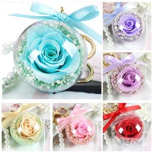 Rosa Portachiavi Fiore eterno fai da te appeso sfera del regalo Ciondolo Acrilico trasparente trasparente Rose Sfera San Valentino regalo della decorazione di nozze