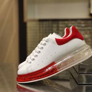 2019 mode Designer sauvage homme Chaussures de jogging Mode casual petites chaussures blanches coussin à vide transparent fond de cristal en cuir fond épais
