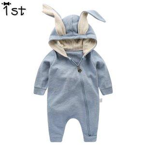 1st Yenidoğan Bebek Kız Erkek Giyim Romper Pamuk Uzun Kollu Tulum Tulum Bunny Kıyafetler Bir Piecer 3d Kulak Giysileri K1 Q190520