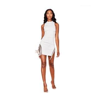Rundhalsausschnitt-Sleeveless Sommer-Tagesleuchtfarbe mit Reißverschluss-Kleid mit Fransen Quaste Sexy Nachtclub-Kleid mit