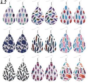 Feder-Druck-Leder-Ohrringe für Frauen Double Side baumeln Ohrringe Oval Wassertropfen Kunstleder Ohr Partei Hochzeit Schmuck GD103