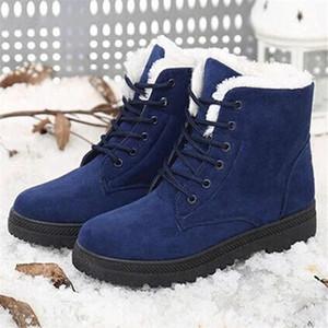 Горячая Продажа-Lasperal Женщина ботинки снега Плоского Узелок Зима Плюс Размер платформа Женской обуви Теплого Flock Fur Женщины замша ботильоны Женской