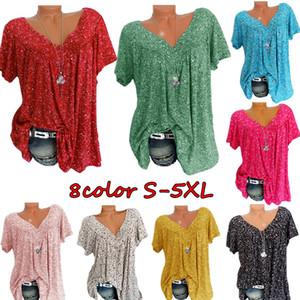 Kadın Tshirt Yaz Bluz Rahat V Yaka Baskı Bayan Gömlek Tops Kısa Kollu Bluzlar T-Shirt Gevşek Üst Bayanlar Tees 8 Renkler S-5XL