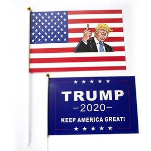 Trump El Sinyal Bayrak 14 * 21 CM Donald 2020 Bayraklar Mektubu Baskı Amerika Büyük Afiş Su Geçirmez Kağıt El Sallayarak Bayrakları DHL Tutun WX9-1391