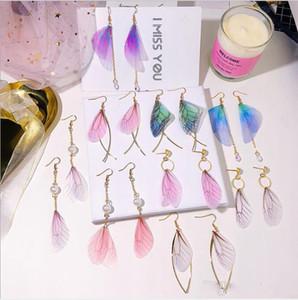 Corea pendientes retro del arte hecho a mano de la perla de tul ala de la mariposa del gancho del oído al por mayor de joyería de moda Mixta cuelga los pendientes