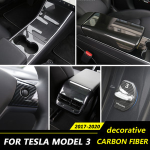 Regolazione del sedile dell'automobile di alta qualità in fibra di carbonio Central Console Pannello Sticker elettrico Telaio Ruota Steering Pannello di copertura per Tesla Model 3