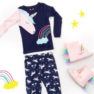 2019Toddler 2Pcs Abbastanza bambini della neonata Unicorn Top T-Shirt Pantaloni Outfits pigiami Homewear Sleepwear 1-6T
