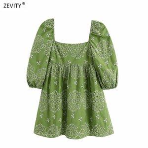 Zevity Neue Frauenweinlesequadratkragen aushöhlen heraus Stickerei Falten Minikleid weibliche beiläufige vestidos schicke Partykleider DS3994