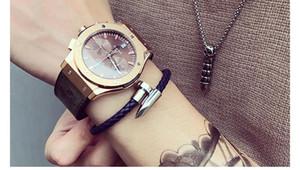 Mcllroy Armbänder Männer brackelts Armbänder Pulseiras 6mm Weave Echtes Leder Nagel Armband Charm Liebe Armreif masculina1e91 #