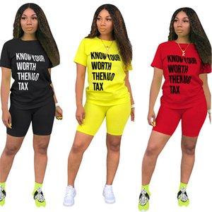 مجموعة النساء 2 قطعة مجموعة النساء المصممات ملابس رياضية الملابس القصيرة t-shirt + short pant short summer letter print sportunity klw3573
