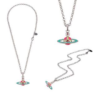 Joyería del collar del esmalte de colores 6colors encantos Planet Gargantilla Collar Cadena De Clavícula muchacha de las mujeres