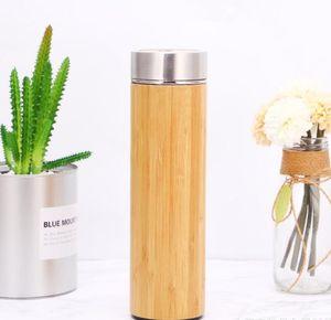 500ml Bambus-Wasser-Flasche Edelstahl-Schale mit Tee-Sieb Vacuum Insulated Tumblers Holz Gerade Cup Car Cup GGA2361