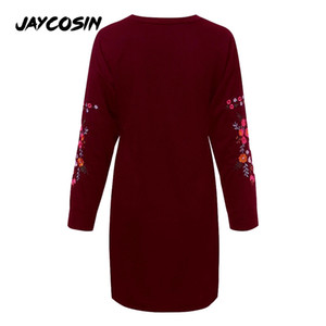 JAYCOSIN Women's Winter Long Sleeve Embroidered Dress 2019 Fashion Autumn Winter Knitted Pullovers Jumper