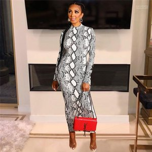 Designer Bodycon-Kleid Mode Snakesleder Muster gedruckt Damen Bleistift Kleid Reißverschluss Tief V-ausschnitt Sexy Kleid Womens