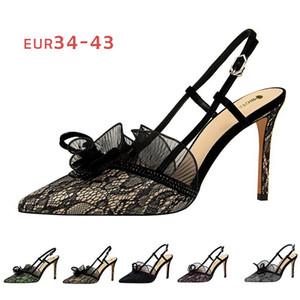 9 centimetri Sexy Black Lady Nero Sandali Lace pompe donne alla moda dei sandali a punta le dita dei piedi Champagne tacco a spillo scarpe partito 2020 Estate all'ingrosso