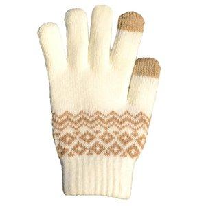 Le nuove donne inverno caldo lavorato a maglia completa Finger Gloves schermo Solid Guanti di lana tocco Mittens femminili