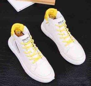 2020 grife inverno New homens brancos High Top placa lace-up Causal Flats mocassins masculinos sapatos de skate ankle boot para o homem