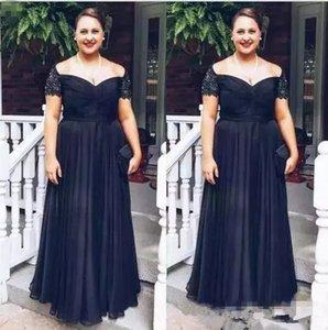 Плюс размер черный мама невесты платья Линия плеча кружево из бисера матери жениха платье сшитое Вечерние платья