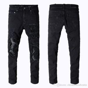 Mens jeans miri sports running Motorcycle biker jeans skinny Slim ripped Popular Cool beggar Mottled hole true pants men designer jeans
