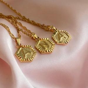 Personalizado A-Z inicial jóias colares pingentes de panela Figaro Cadeia letra do alfabeto Gargantilha Colar Accesorios Mujer 2020