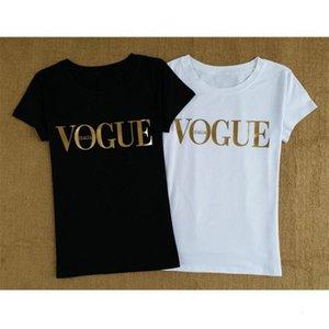 Womens Tops Donne progettista magliette di colore dell'oro di Vogue maglietta Donna Top Femme maglietta del cotone di estate O del collo Tee Shirt Donne Harajuku