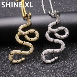 Iced Out Twisted Snake Coral ожерелье Full Lab Алмазный Gold Silver Plated Mens Hip Hop подарок ювелирных изделия