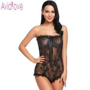Avidlove Lingerie de Renda Sexy Hot Erotic Underwear Mulheres Sheer Lace Teddy Romper Pijamas Langeri Negligee Porno Sexo Traje Y19070302