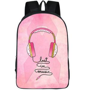 Perdeu mochila Headset daypack amor na música mochila Hip hop impressão mochila esporte saco de escola ao ar livre bloco do dia
