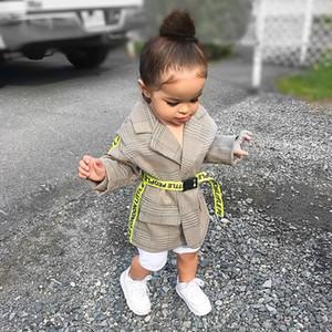 2020 Moda Criança Crianças Baby Girl Autumn Coats inverno crianças roupas Neon Belt Plaid Imprimir Brasão Collar Turndown Outwear 2-6Y