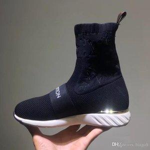 Carta estiramento Girl Fashion Chic Branded Women Strap Sock instrutor Botas Têxtil Faixa Sneaker botas Designer Lady remendo de borracha Sole Shoes