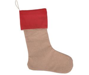 Inicio caliente festivo 12 * 18 pulgadas Nueva alta calidad de la lona bolsas de regalo de Navidad de población media de Navidad calcetines de Navidad decorativos bolsas