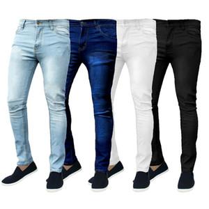 Solido Colore Skinny Jeans Uomo 2020 Brand New Slim matita pantaloni in denim pantaloni classici del progettista del Mens dei jeans jogging Nero Blu