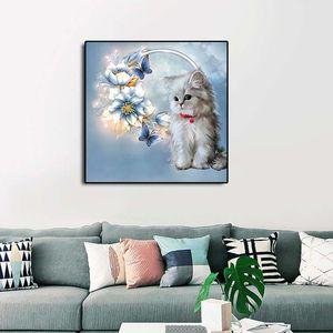 5d diamante pintura ponto cruz diy diamante bordado bonito do gato flor imagem home decor crianças presentes sem quadro de pintura
