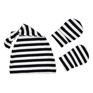 2pcs Hat&fingerless Gloves Baby's Hat Banie Toddler Infant Newborn Baby Keeping Warm Stripe Knitted Hat No Scratch Mitten Set