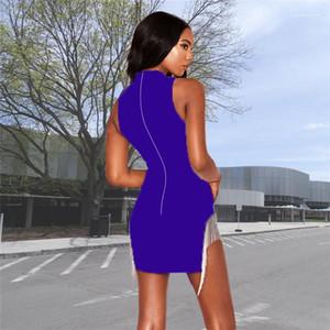 Sommer-Tagesleuchtfarbe mit Reißverschluss-Kleid mit Fransen Quaste Sexy Nachtclub-Kleid mit runden Ausschnitt Ärmel
