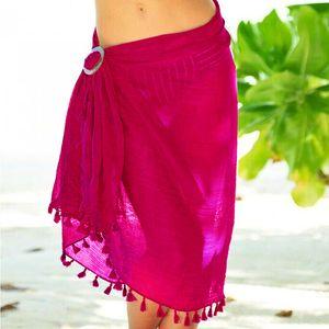 5colors Toalha de Praia encobrimentos Tassel envoltório Saia Biquinis Swimsuit Feminino Swimwear Mulheres Sólidos Wear Pareo Summer Beach Sarongs GGA3372-1